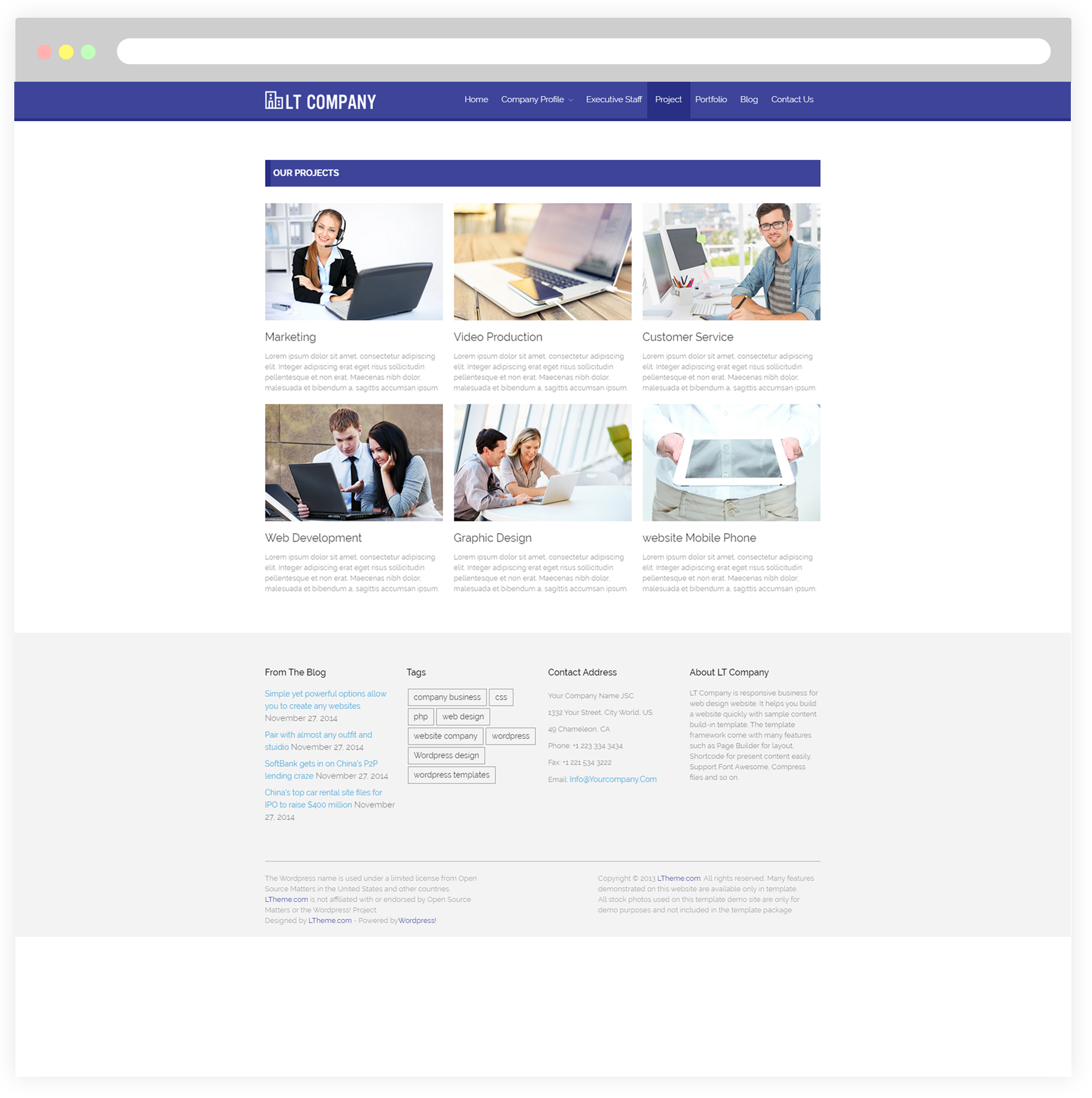 Lt company free company wordpress theme project page accmission Images