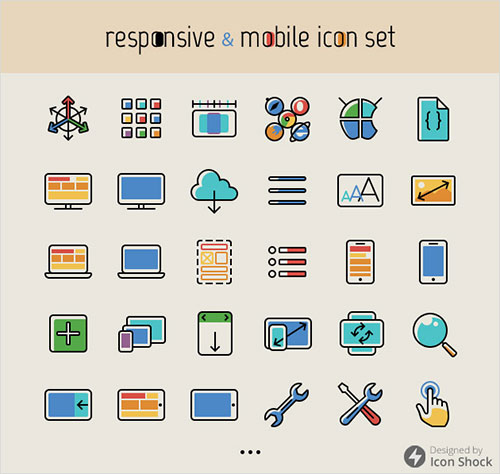 100 Free Responsive Mobile Icon Set