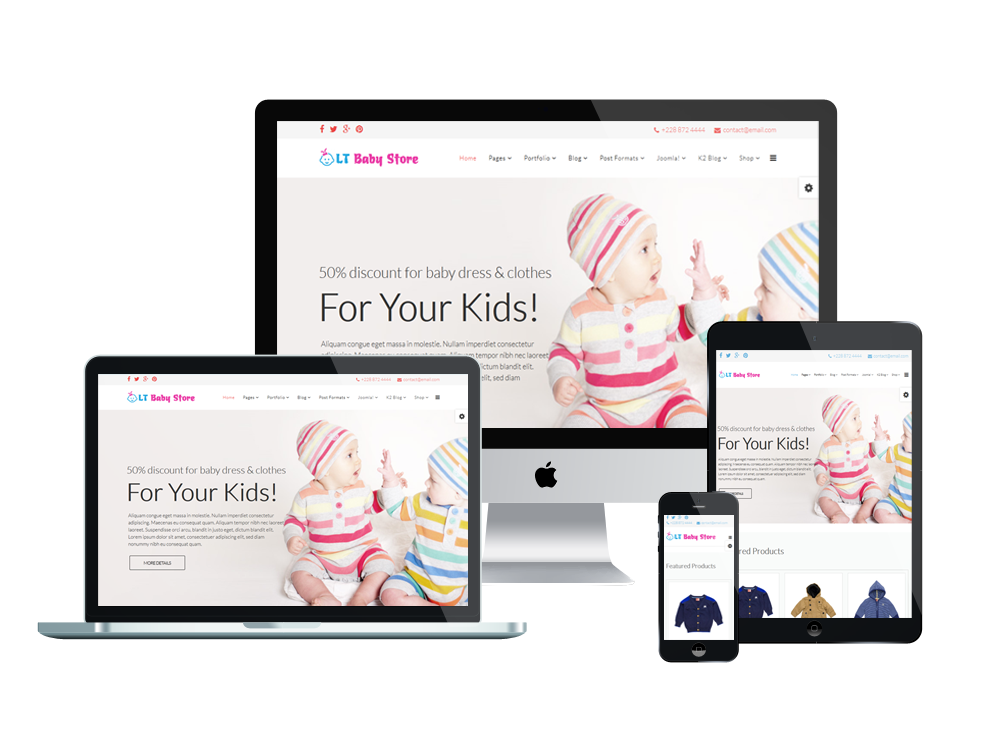 lt baby shop free kids clothes store hikashop joomla template