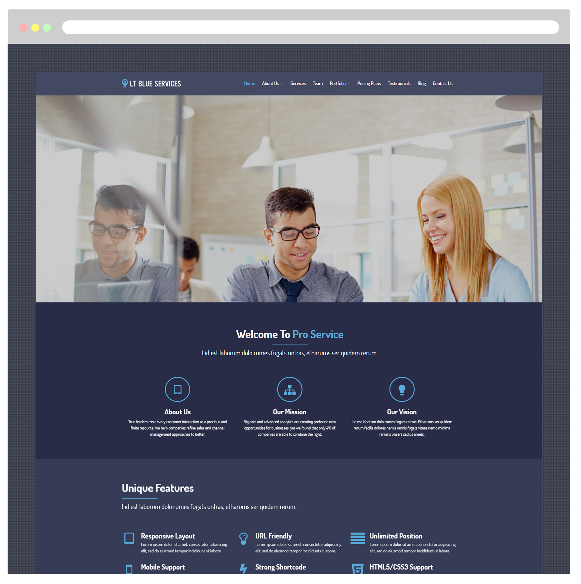 LT Blue Services WordPress Theme