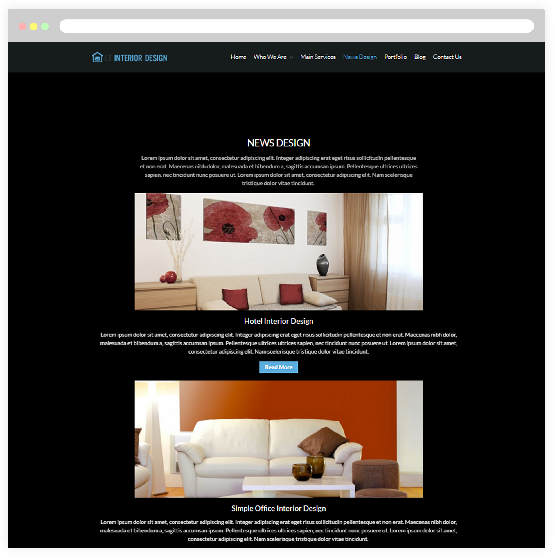 Interior design home page - News Design Page