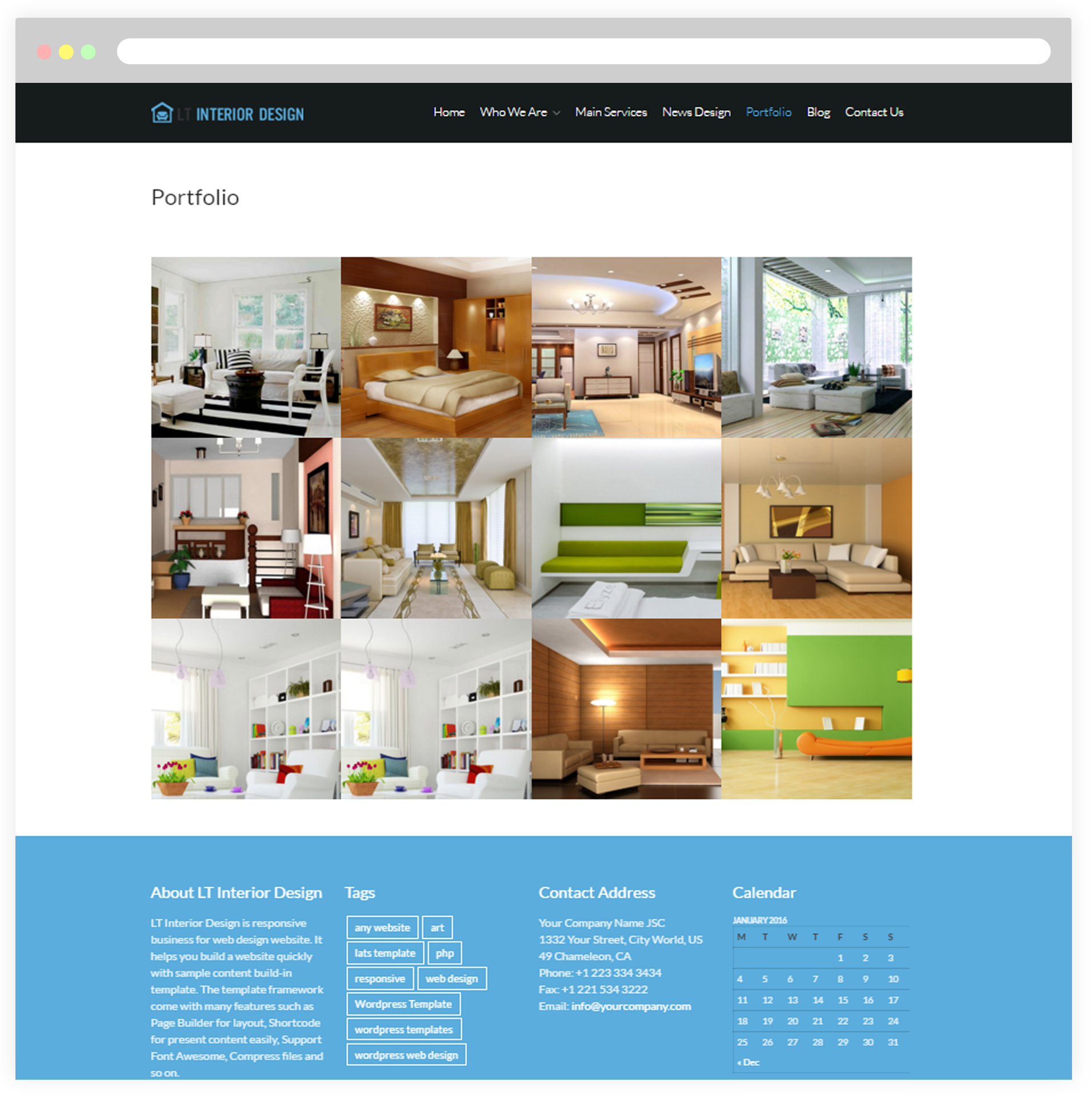 Interior Design Portfolio By Free Responsive Wordpress Theme