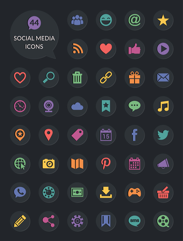 Collection Of 40 Free Social Media Icons