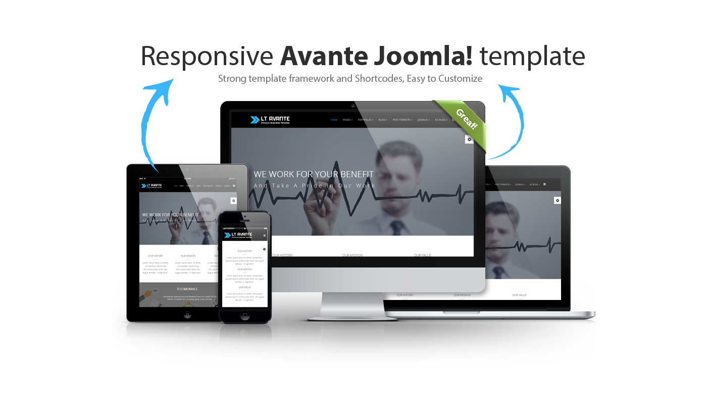 Lt avante onepage free responsive one page joomla business template its elegantly responsive fbccfo Gallery