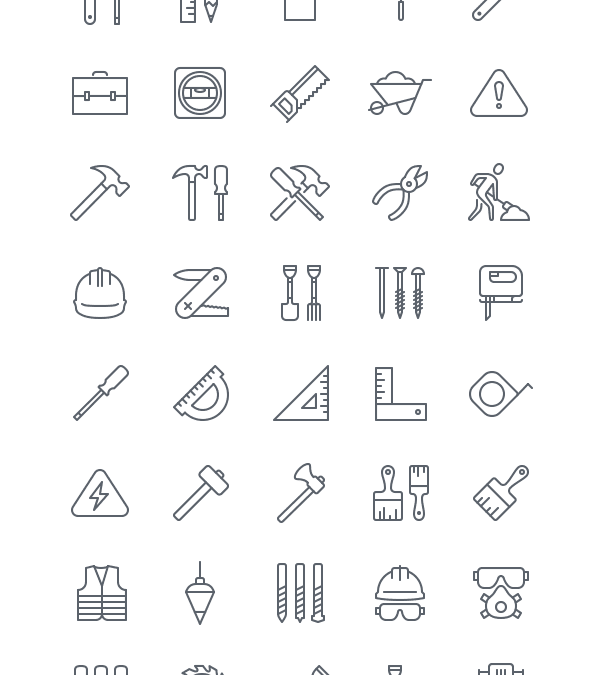 Set Of Free Construction Icons For iOS 8