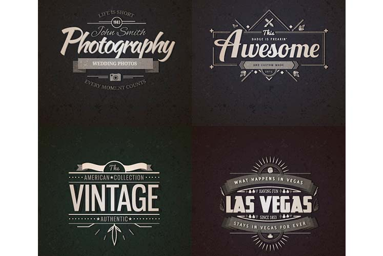 Realistic Vintage Logo Templates PSD