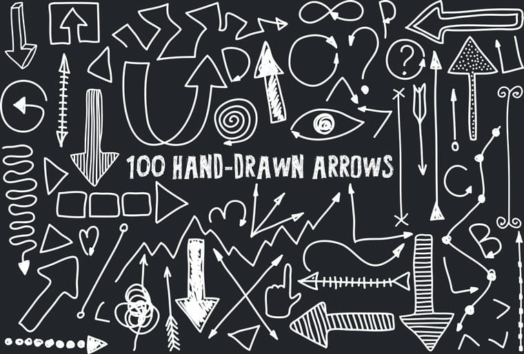 Set Of 100 Free Hand Drawn Arrows Vector