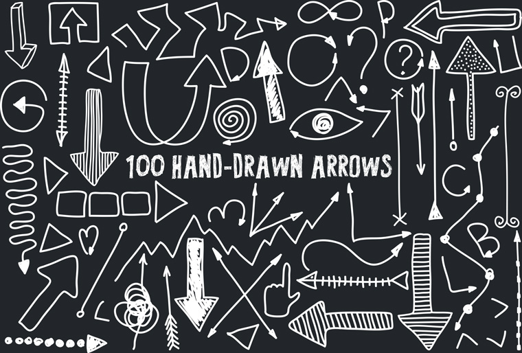 Set Of 100 Free Hand Drawn Arrows