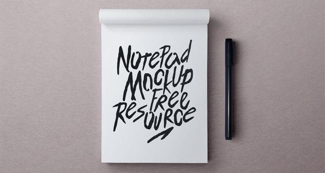 Free Notepad PSD MockUp Template