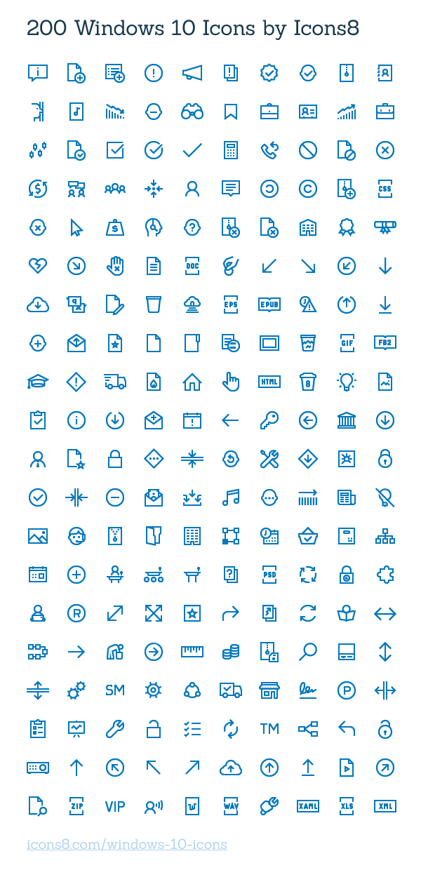 Collection Of 200 Free Windows 10 Icons