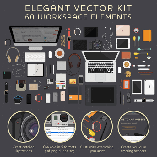 Elegant Free Vector Kit - 60 Workspace Elements