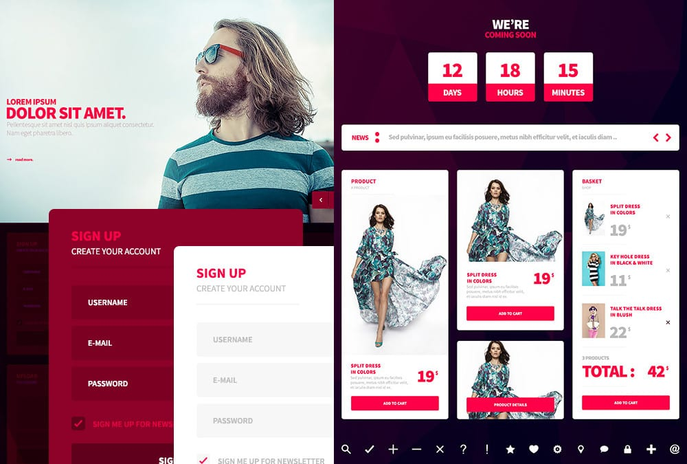 Mobile And Web UI Kit PSD Template