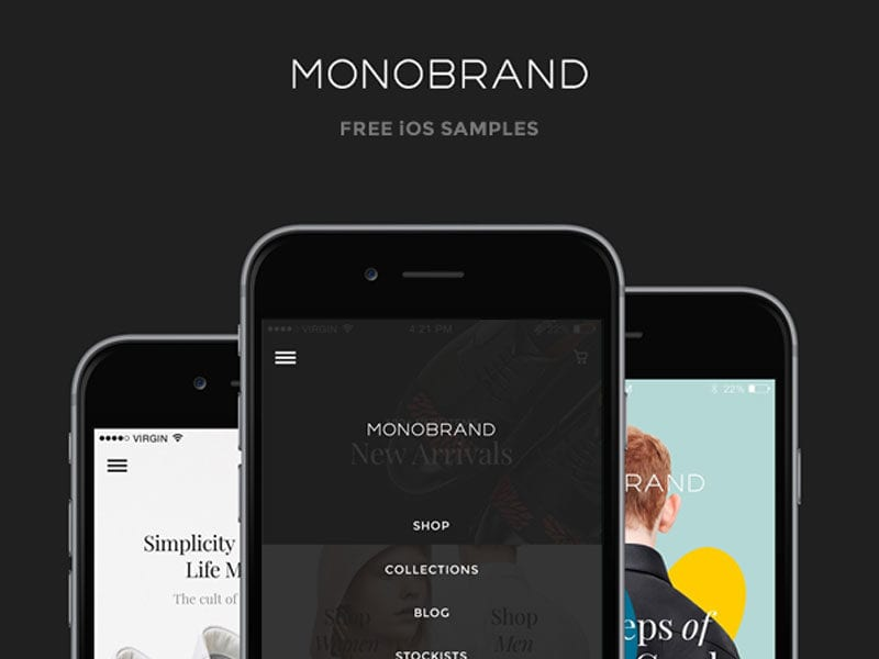 Monobrand Free iOS UI Kit PSD