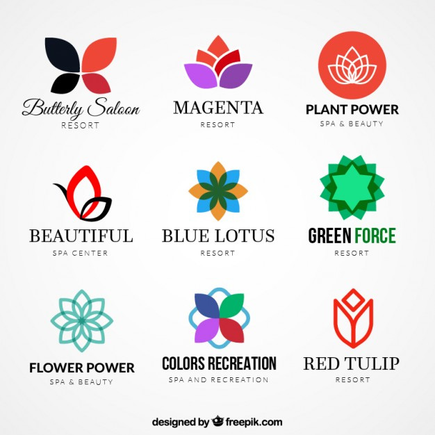 Set of 300 free logo templates variety of floral logos 24 free logo templates wajeb Image collections