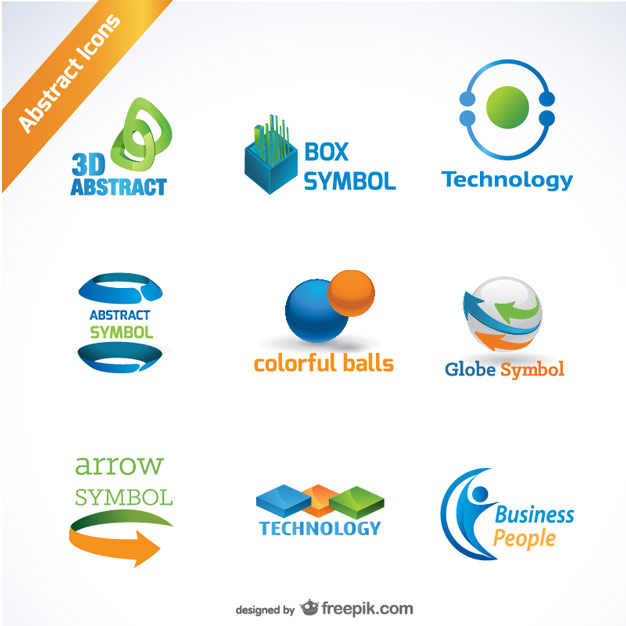 Set of 300 free logo templates abstract icons for logos in orange blue and green 25free logo templates flashek Image collections