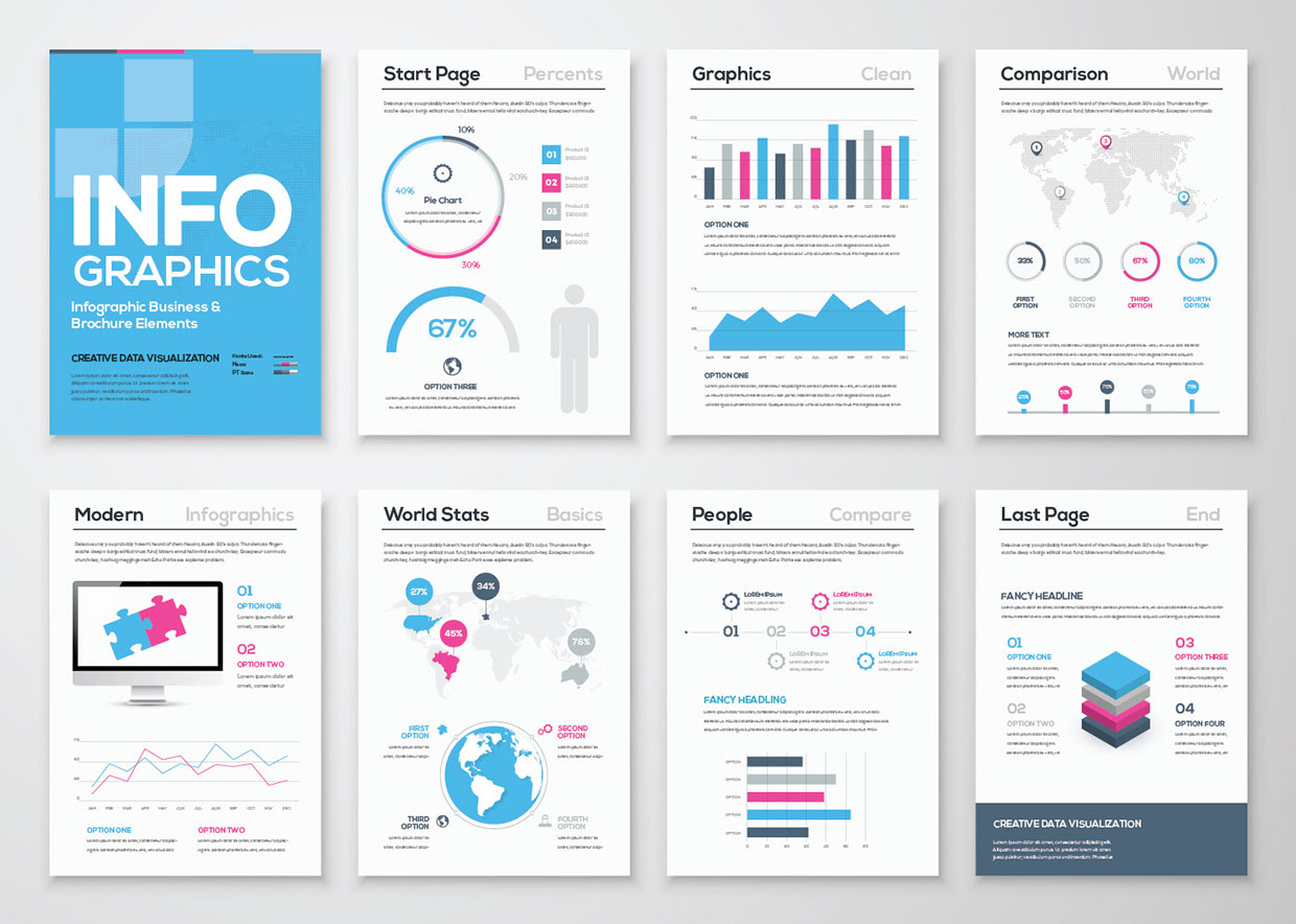 Infographic free brochure template for Adobe illustrator brochure templates free