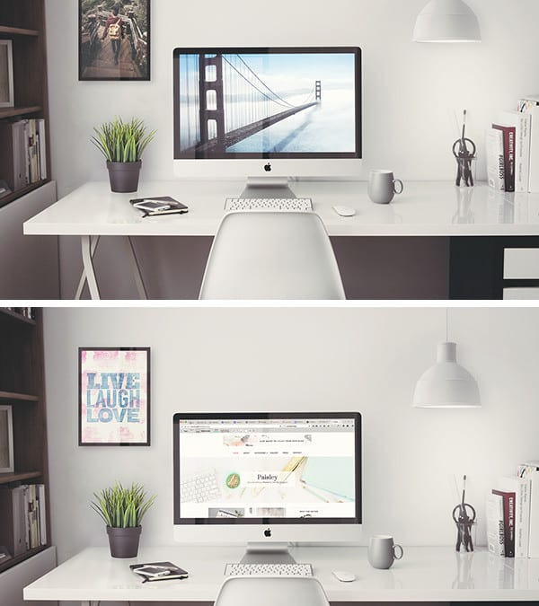 iMac Retina 5k Office Free PSD MockUp Template