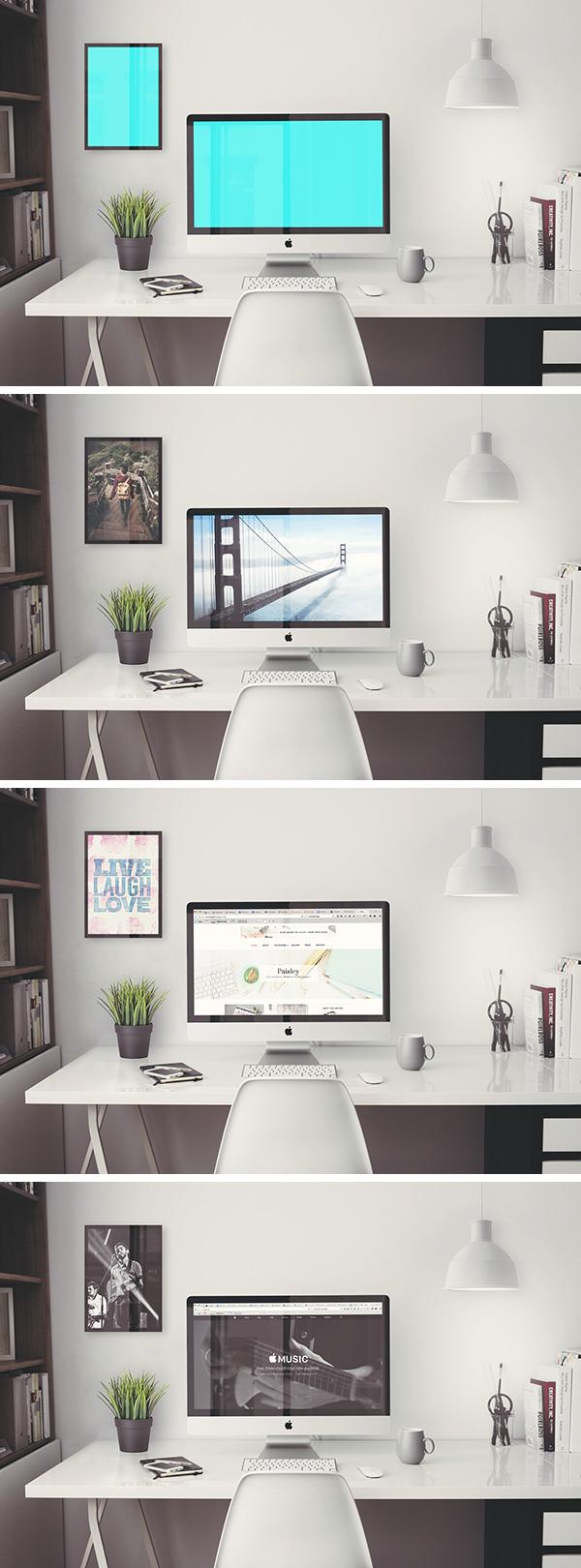 iMac Retina 5k Office Free PSD MockUp