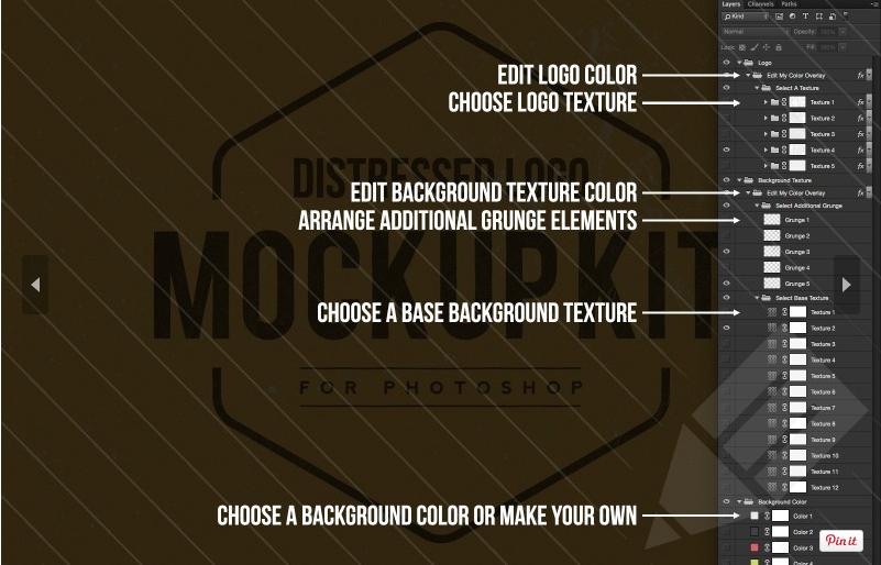 Distressed Logo Mockup Free Kit 2