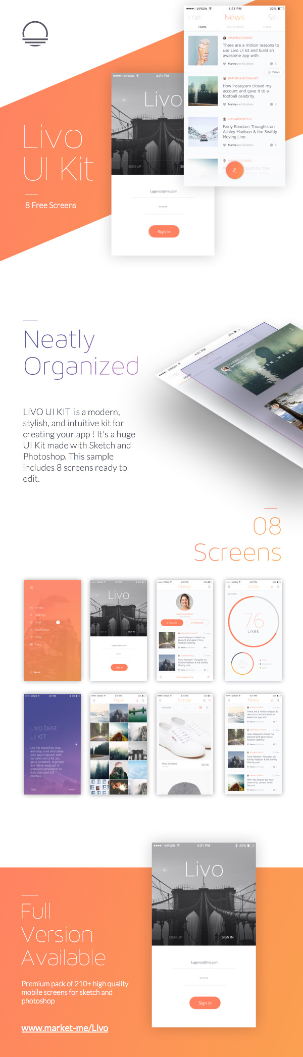 Livo Neatly Organized Free UI Kit