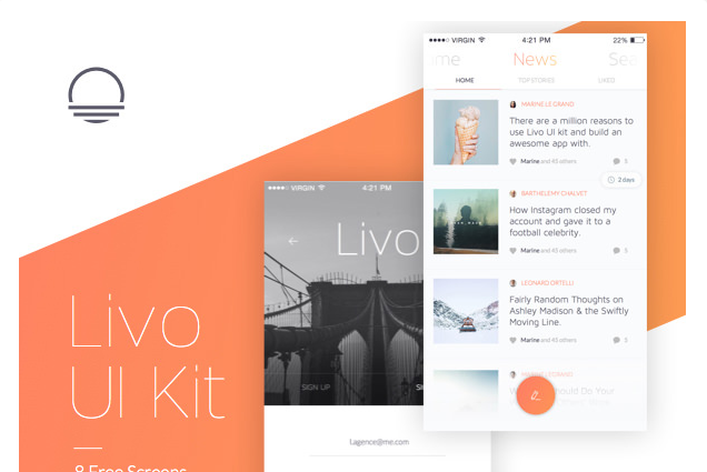 Livo Neatly Organized Free UI Kit Web Design