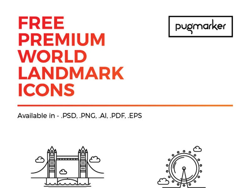 Set Of 12 Free Icons Download – World Landmark