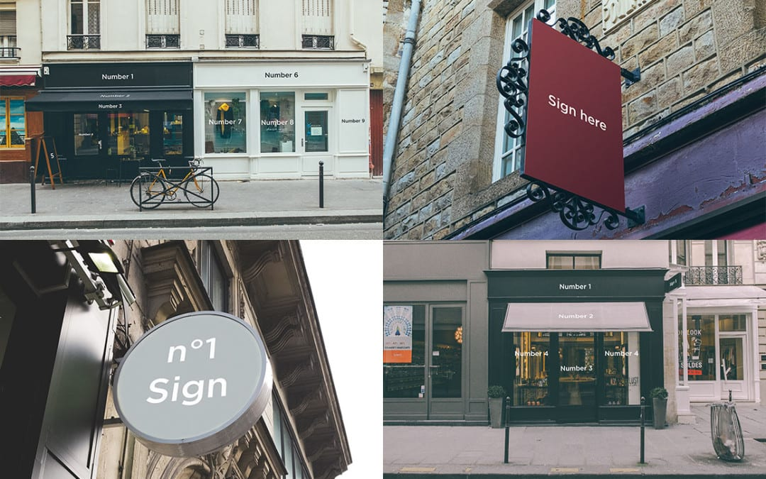 5 Signs & Facades FREE Mockups PSD Download