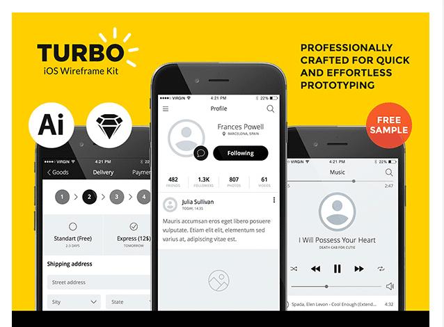 Turbo iOS FREE Wireframe UI Kit
