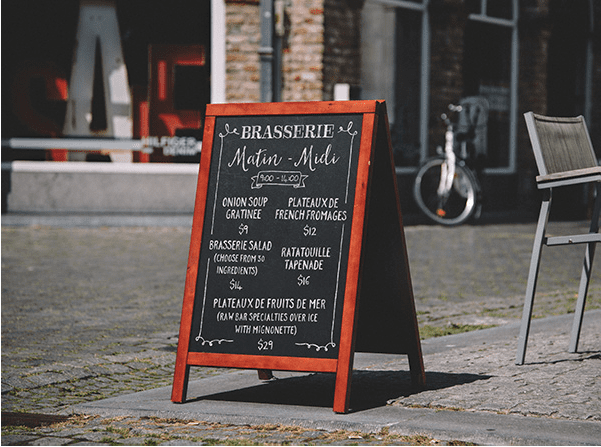 High Resolution A-Frame Chalkboard Menu MockUp