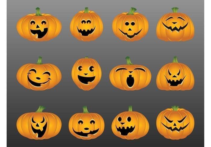 Halloween Pumpkin Free Vector Patterns Set