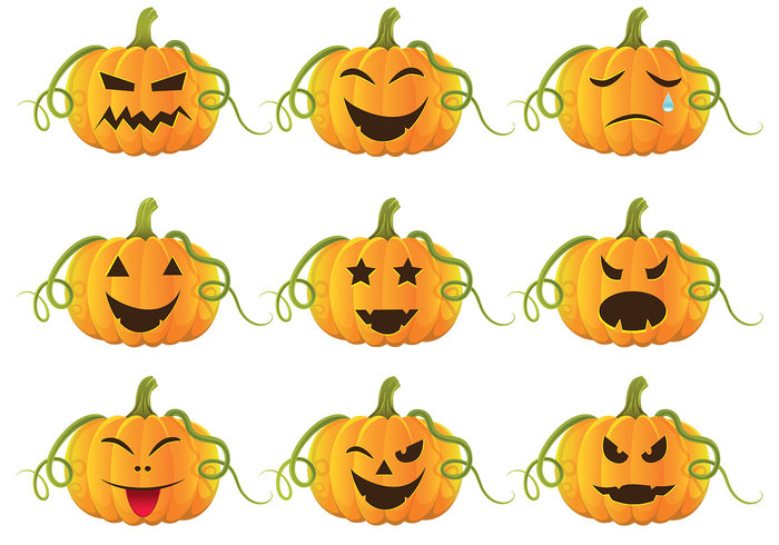 Halloween Faces For Pumpkins Free Vetor Download