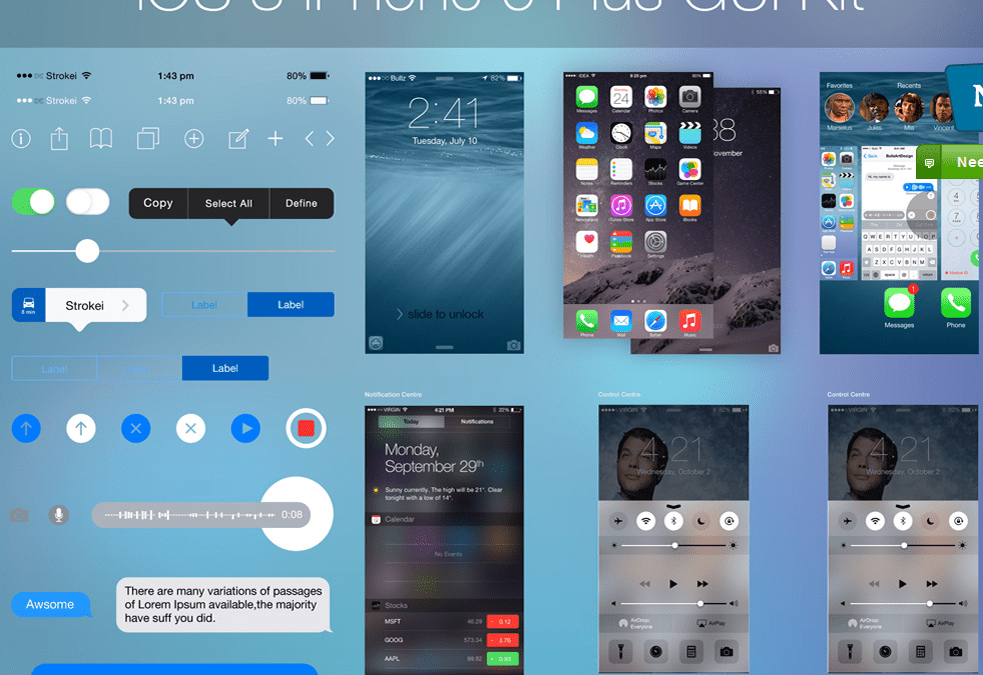 iPhone 6 Compatible iOS 8 UI Kit Design Inspiration