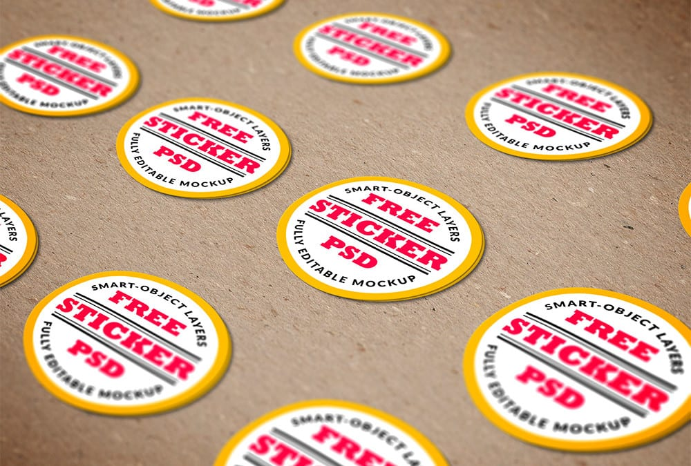 Stickers free psd mockup template