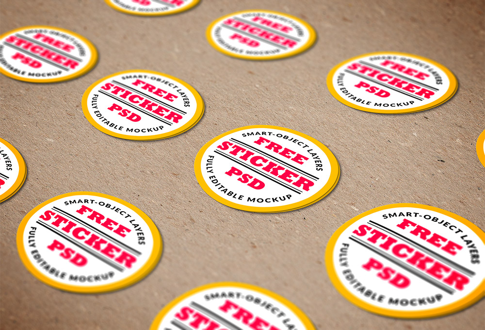 stickers psd mockup template