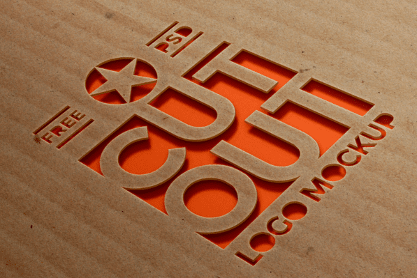 Original And Realistic Cardboard Cutout FREE Logo Mockup
