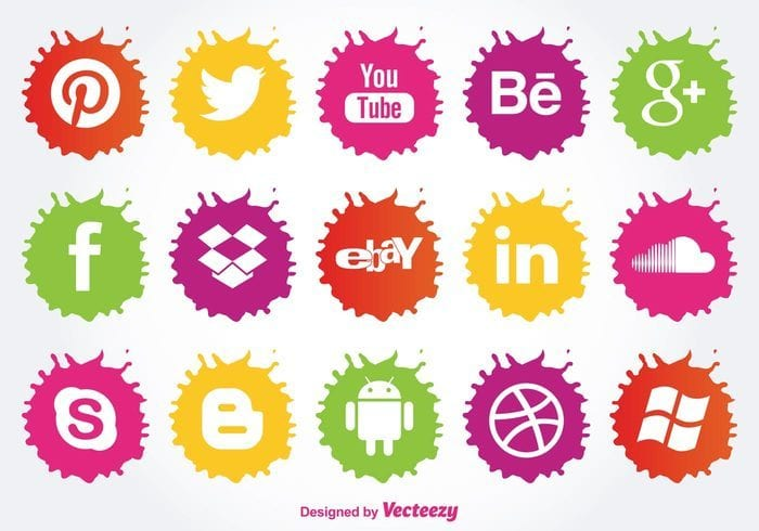 Paint Splatter Style FREE Social Media Icons Vector
