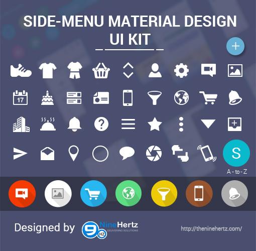 Side Menu Material Design FREE UI Kit