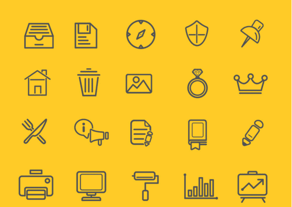 Set Of 75 Free Outline Web Icons