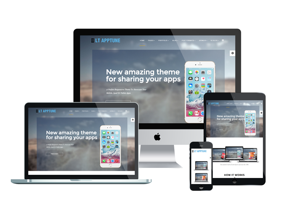 lt apptune free joomla mobile app template. Black Bedroom Furniture Sets. Home Design Ideas