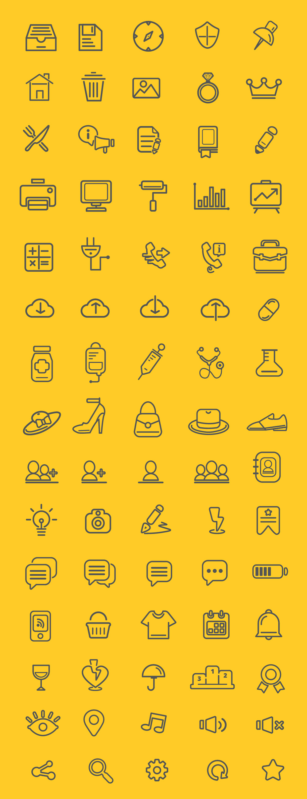 Set Of 75 Free Outline Icons
