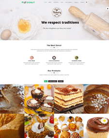 LT Donut Onepage – Free Single Page Bread Store / Dunut Joomla template