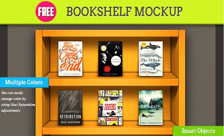 Bookshelf Free PSD MockUp Template