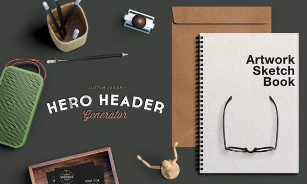 Hero / Header Scene Free PSD MockUp Template