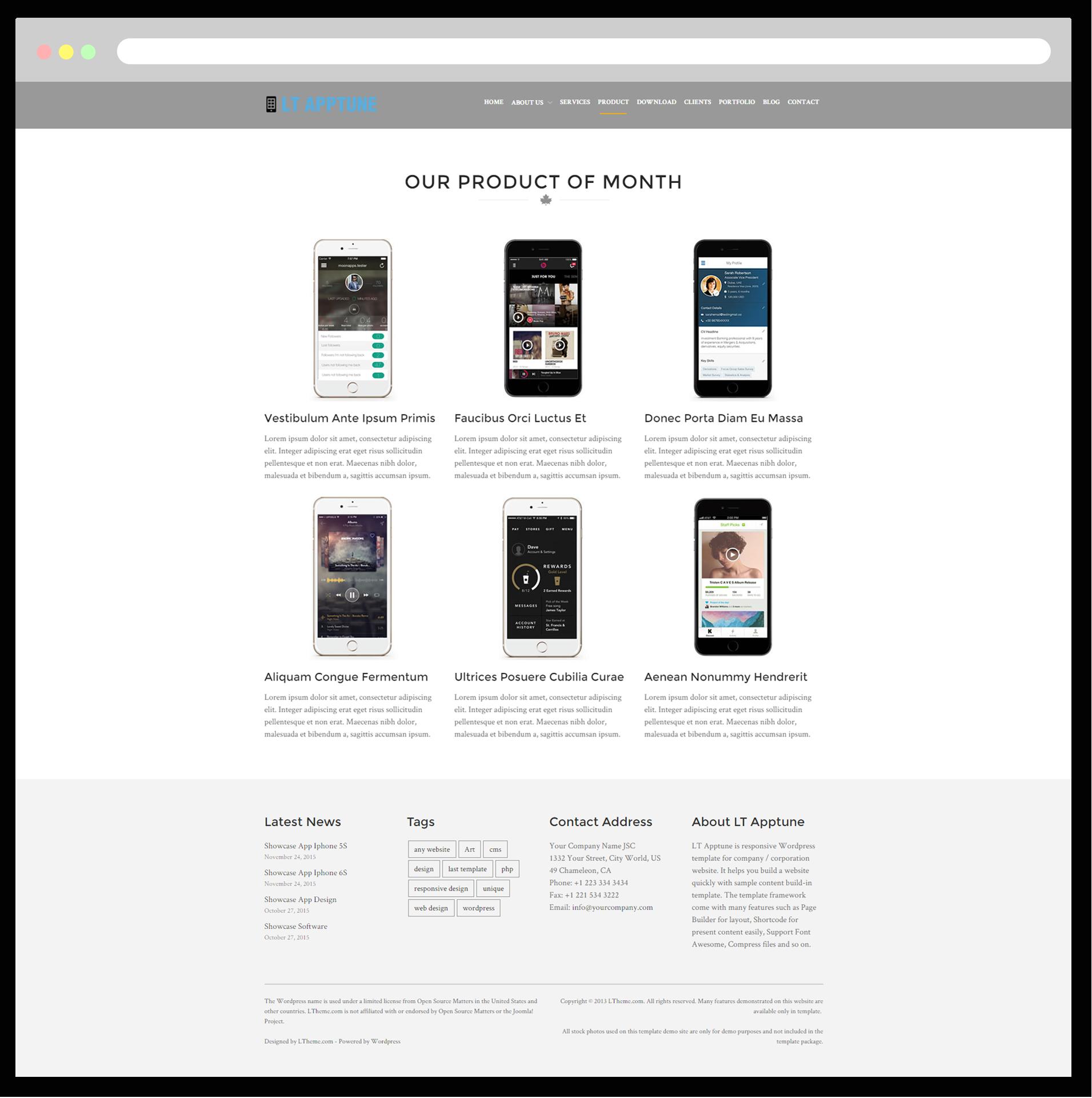 lt apptune free responsive mobile apps wordpress theme