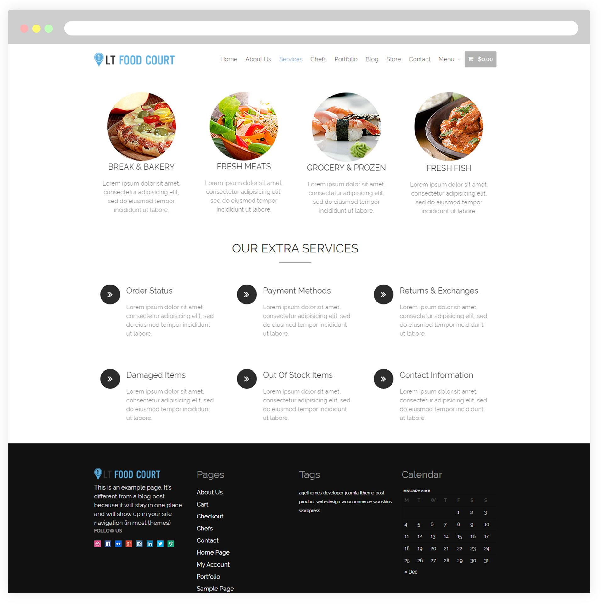 Lt food court free responsive food order food court wordpress with services page of this food court wordpress theme you can list your services in details by using their unique page template besides use the wordpress pronofoot35fo Image collections