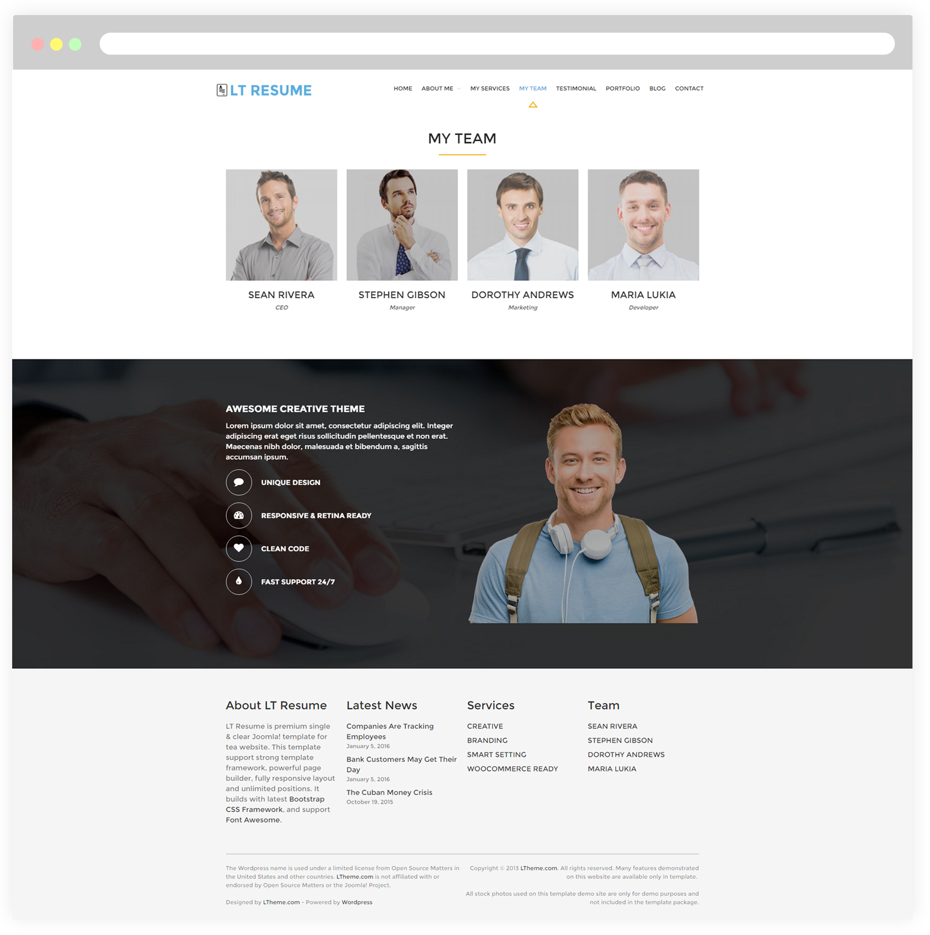 my team page - Resume Cv Joomla Template