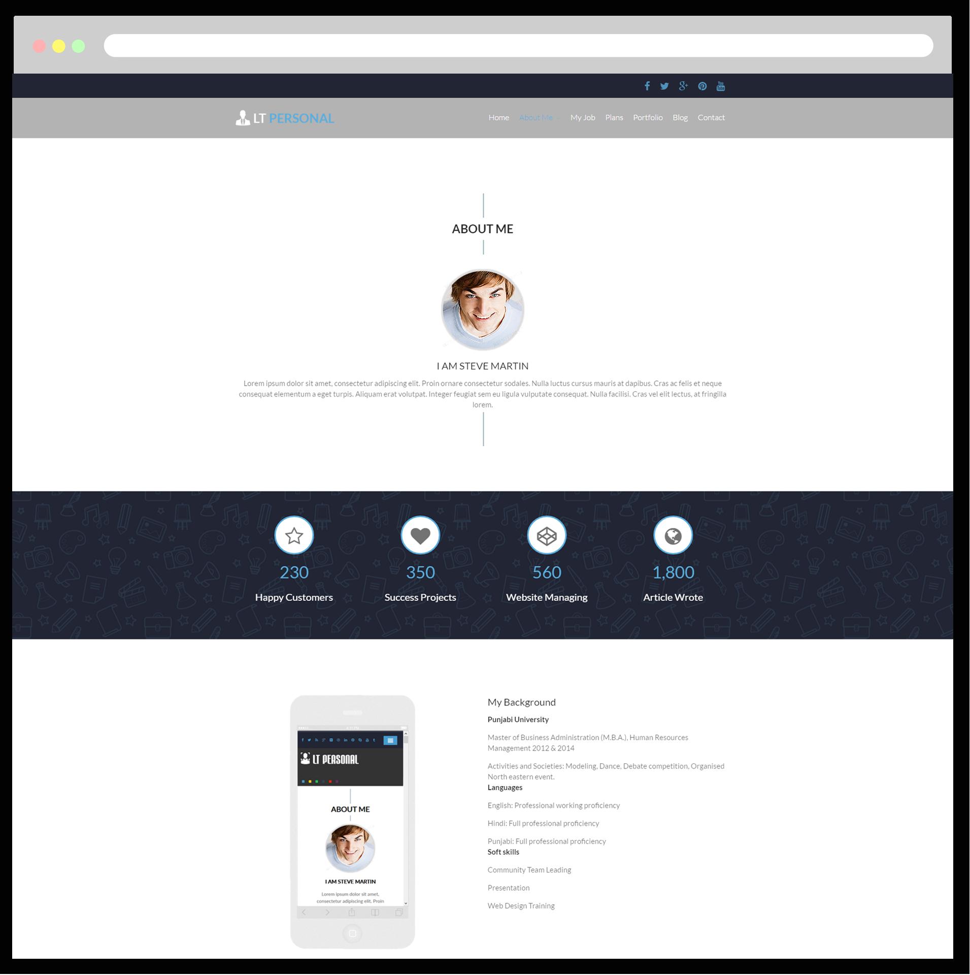 LT Personal – Free Responsive Profile / Personal Wordpress theme ...