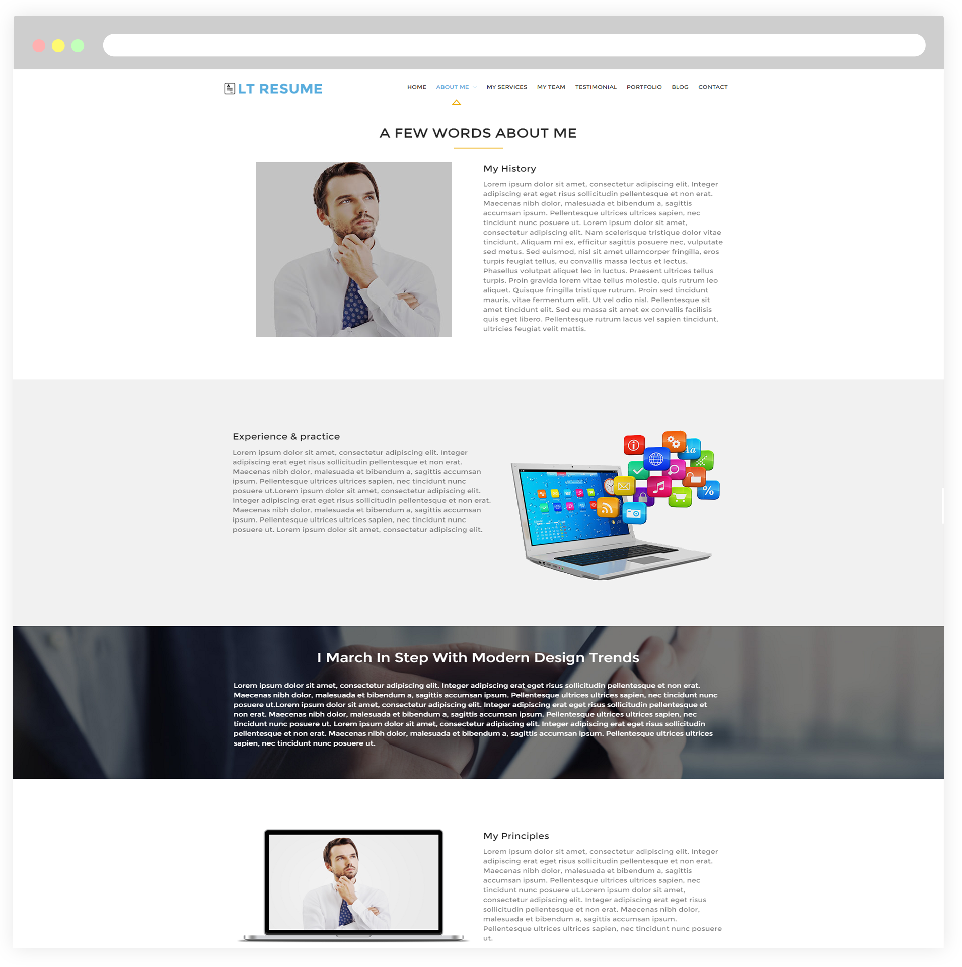 Lt Resume Free Responsive Personal Cv Wordpress Resume Theme