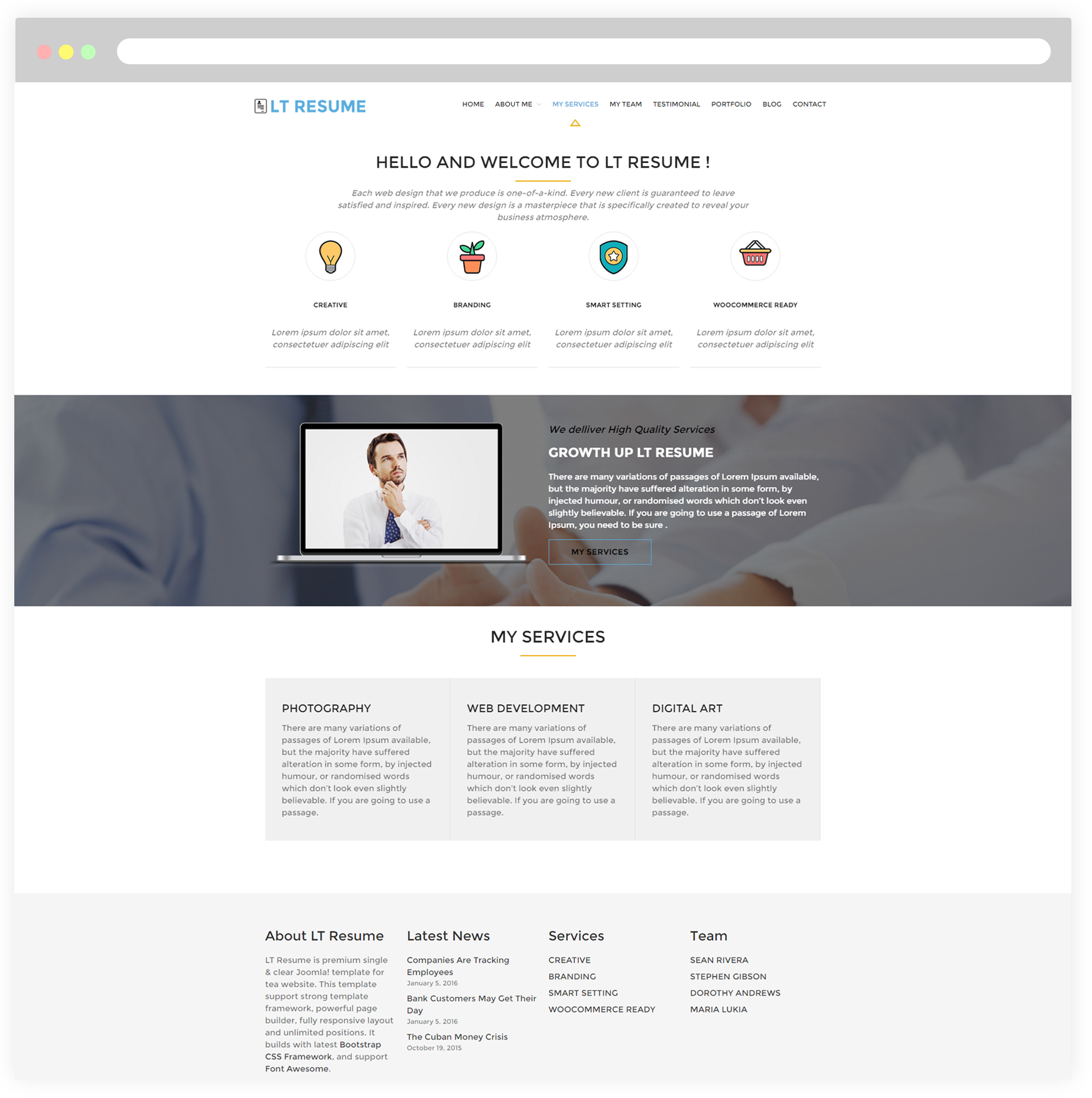 lt resume responsive personal cv resume wordpress theme for services you can list your business related services in details such as photography web development digital by using their unique page template