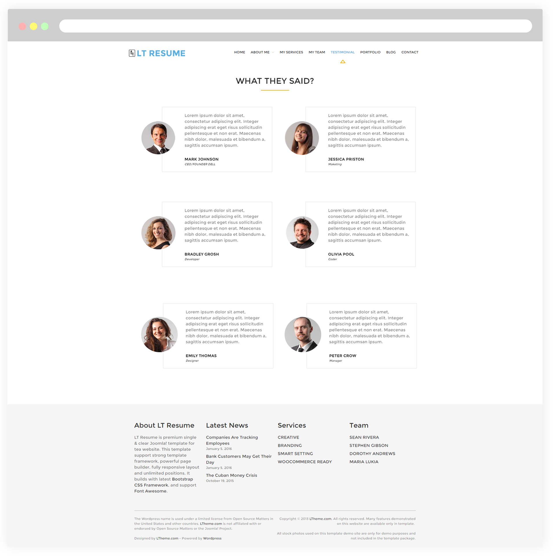 Testimonials Page  Wordpress Resume Themes